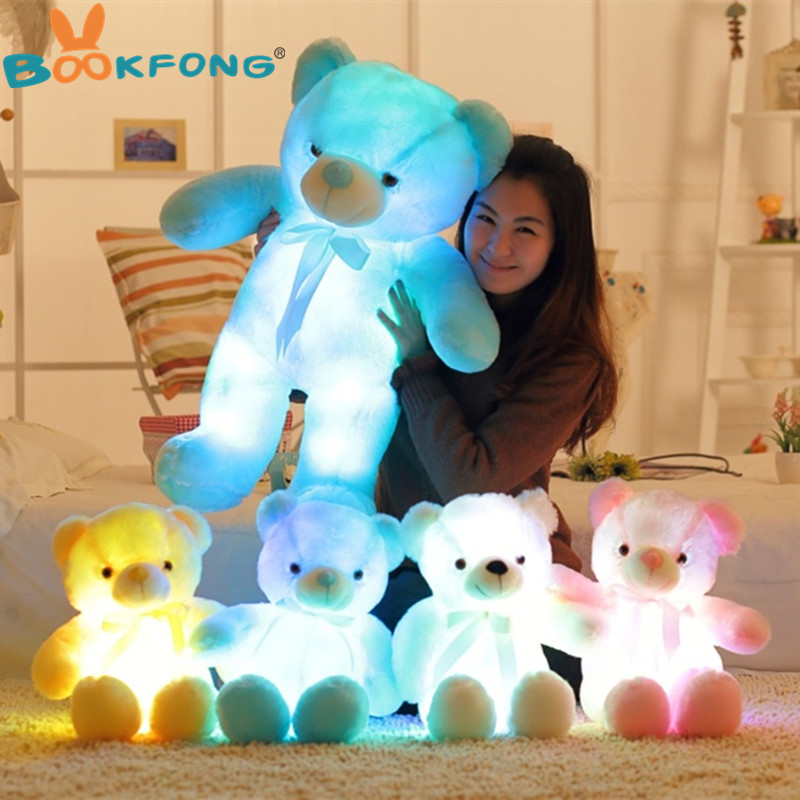 BOOKFONG Huge 75cm 30 Creative Colorful Glowing LED Teddy Bear Plush Doll Luminous Brinquedo Girlfriend Christmas Lovely Gifts 75cm led luminous glowing toy light up plush rabbit doll christmas new year birthday gift for kid girlfriend child wj447