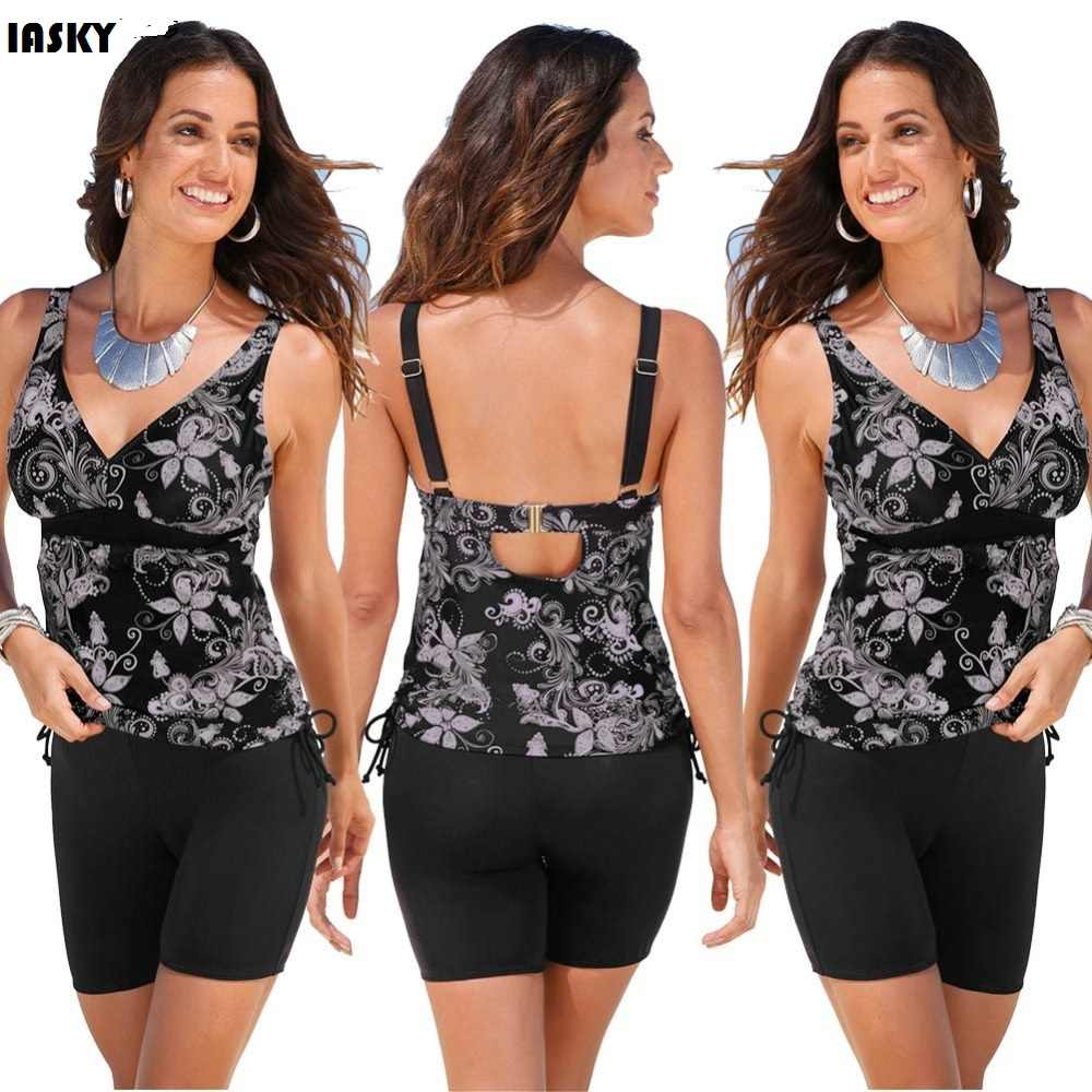 03d69313c2b00 IASKY 2017 Women Swimsuit Retro Print Tankini Swimwear Wireless Straps  Beach Bathing Suit Plus Size Swim