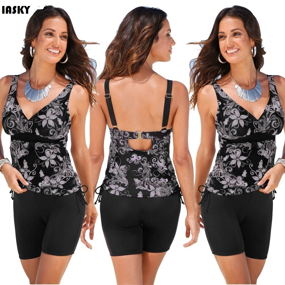 IASKY 2017 Women Swimsuit Retro Print Tankini Swimwear Wireless Straps Beach Bathing Suit Plus Size Swim Suit 2XL