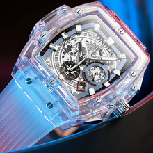 ONOLA Brand Transparent Plastic Watch Men Women clock 2020 Fashion Sports casual unique Quartz Luxury square Mens Watch