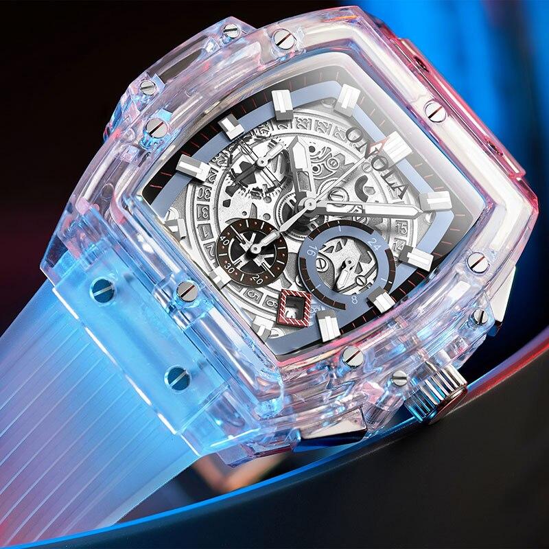ONOLA marque Transparent en plastique montre hommes femmes horloge 2019 mode sport décontracté cool unique Quartz luxe carré hommes montre