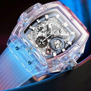 Image 1 - ONOLA العلامة التجارية ساعة يد بلاستيكية شفافة الرجال النساء على مدار الساعة 2020 موضة الرياضة عادية فريدة من نوعها الكوارتز الفاخرة مربع ساعة رجالي