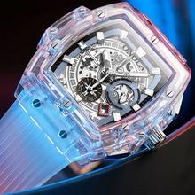 Onolaブランド透明プラスチック製の時計メンズレディース時計2020ファッションスポーツカジュアルユニークなクォーツの高級スクエアメンズ腕時計