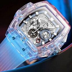 Onola marca transparente relógio de plástico das mulheres dos homens 2019 moda esportes casual legal único quartzo relógio quadrado luxo
