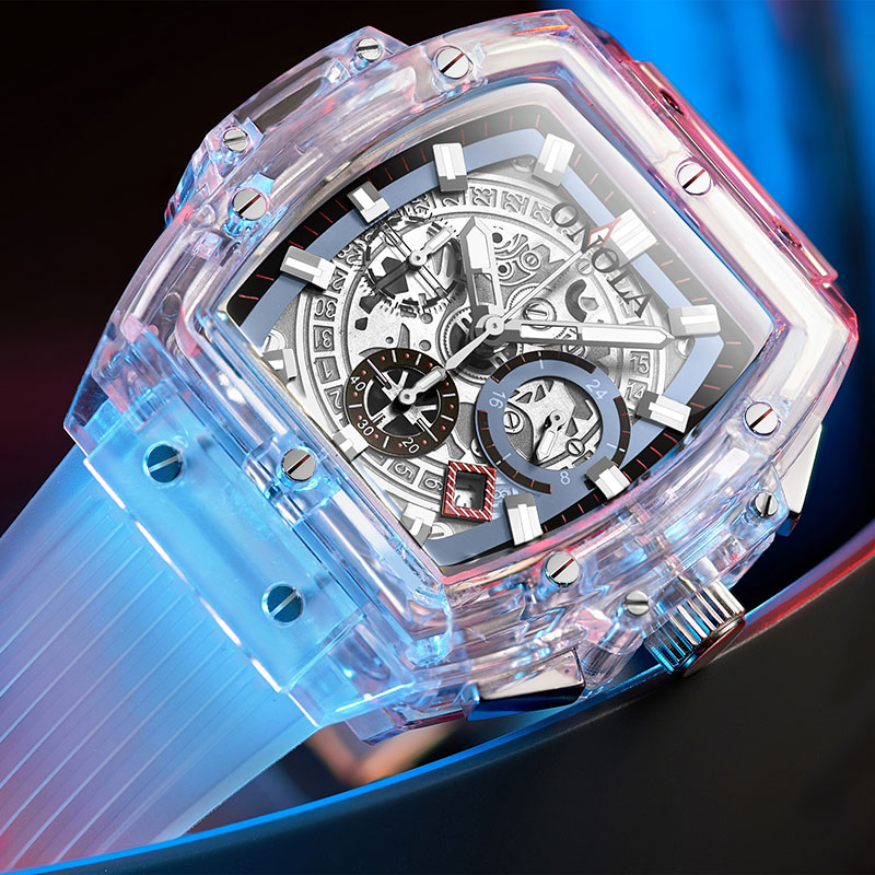 Relógio de Plástico para Mulheres dos Homens Onola Marca Transparente Moda Esportes Casual Legal Único Quartzo Relógio Quadrado Luxo 2020