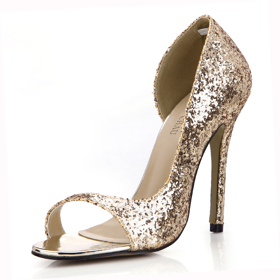 CHMILE CHAU Gold Glitter Sexy Wedding Party Women 39 s Shoes Peep Toe Stiletto High Heel Pumps Big Sizes Zapatos Mujer 0640C Q2 in Women 39 s Pumps from Shoes