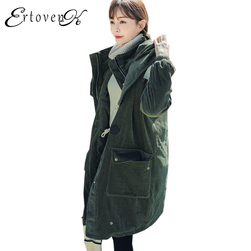 Thick Winter parka Women Plus size Coat Loose Hooded Outerwear 2017 New overcoat Female Horn Button jaqueta feminina invernoC197 jacket warm woman parkas female overcoat hooded plus size winter thick coat jaqueta feminina chaqueta mujer casacos de inverno