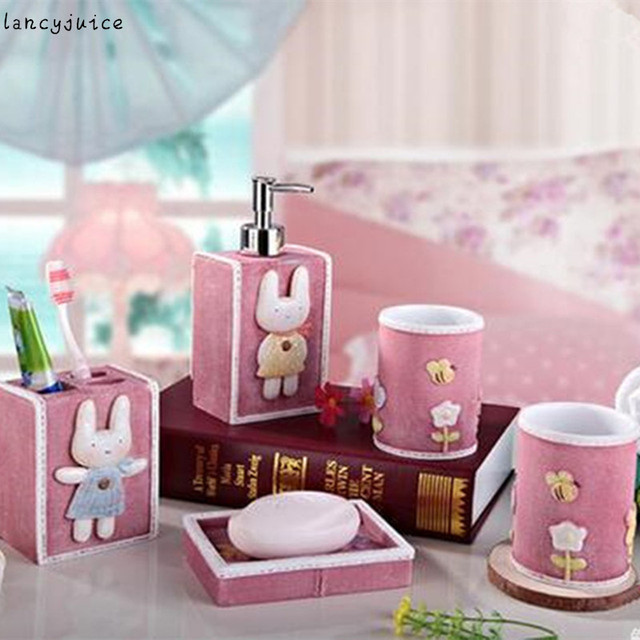 Girl Bathroom Set Resin Tooth Brush Holder Soap Box Shampoo Bottle Nontoxic  Tooth Cleaning Set 5pcs