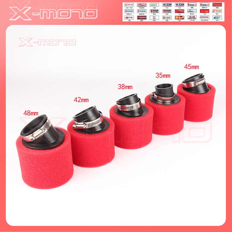 35mm 38mm 42mm 45mm 48mm Bend Gomito Collo del Filtro Aria In Spugna Spugna Cleaner Ciclomotore Scooter dirt Pit Bike Moto rosso Kayo BSE