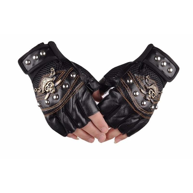 Leder Motorrad Motocross Racing Handschuhe Half Fingers Piraten Schädel Niet Punk Handschuhe