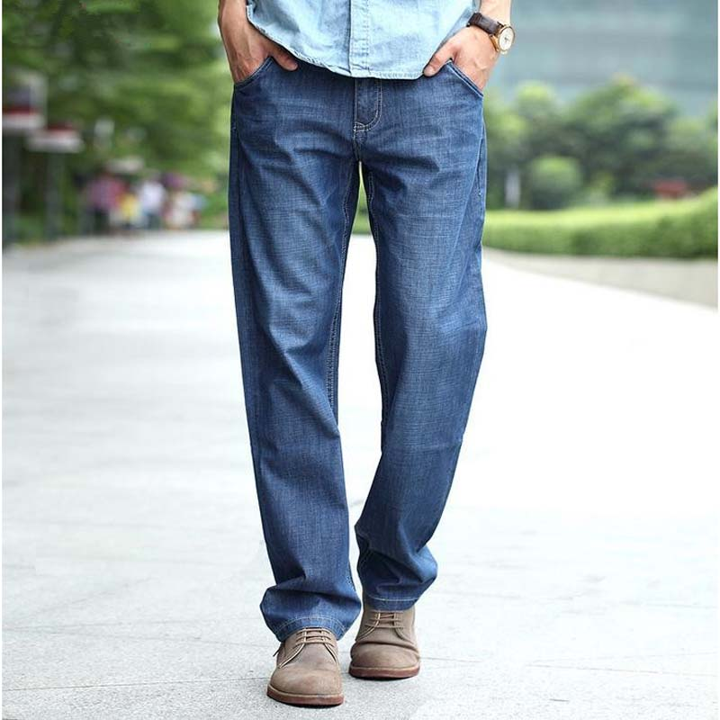 2017 Summer Retro Man Jeans Nostalgia Plus Size 27-48 Loose Denim CARGO PANTS Leisure Straight Cotton Long Trousers Mens Bottoms winter thicked jeans mens straight loose jeans denim fleece denim blue leisure trousers autumn man botton plus size 46 48