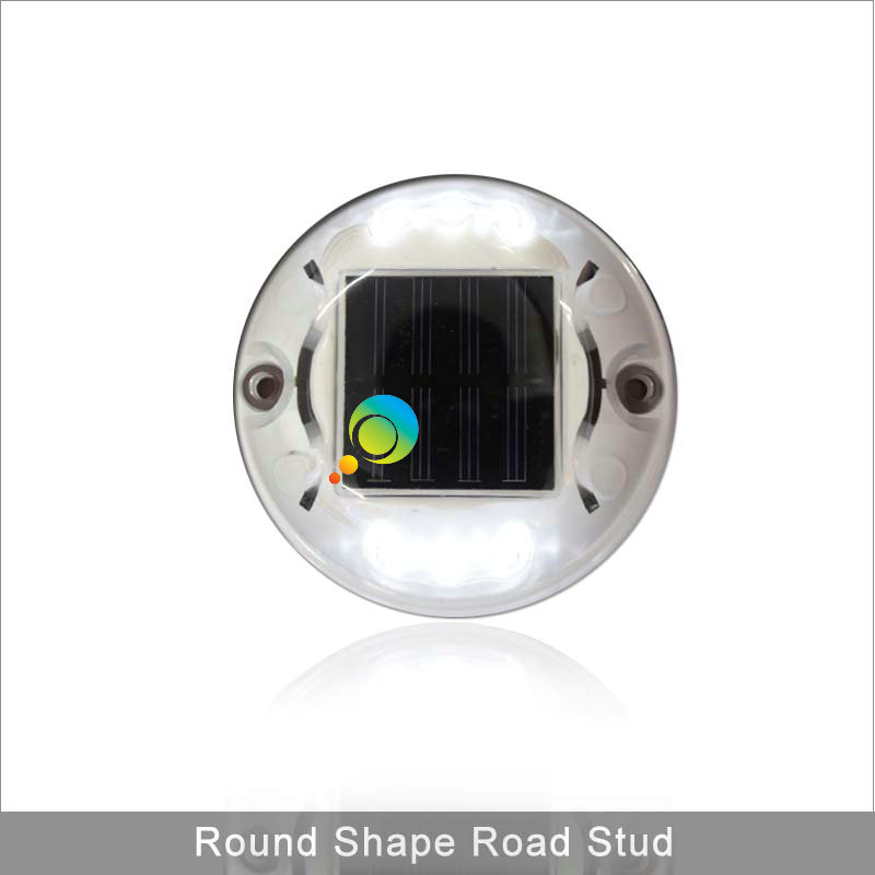 Round shape white color LED pathway plastic reflective marker solar road stud
