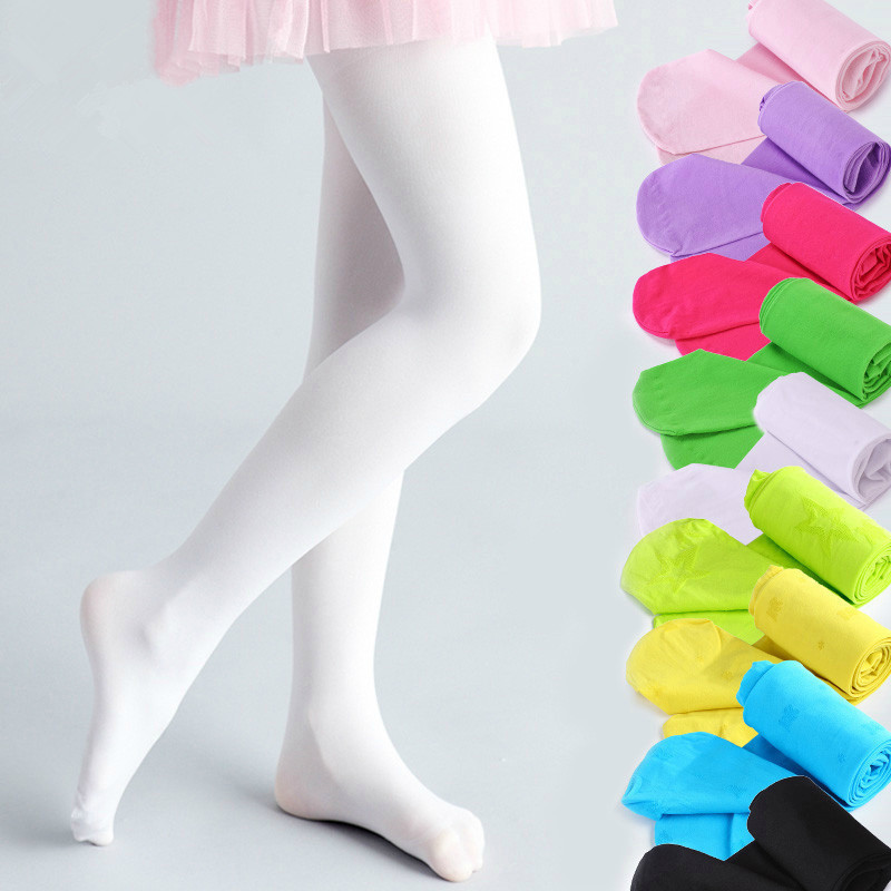 Girls High Elastic Baby Pantyhose Child White Ballet Tights Candy Color Girls Stockings Children's Dance Velvet Pantyhose