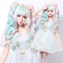 цена на Anime VOCALOID Miku Colorful Harajuku Lolita Curly Cosplay Wig Costume Synthetic Hair Wigs With Double Clip Ponytails