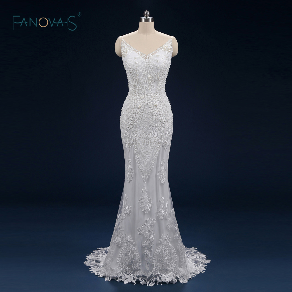 Luxurry Wedding Dresses 2019 Straps V Neck Pearls Beaded Mermaid Wedding Gown Long Tulle Vestio de