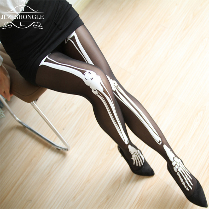 2017 spring summer black bones skull pantyhose woman halloween stockings sexy fashion nylon women girls sheer - Halloween Tights For Women
