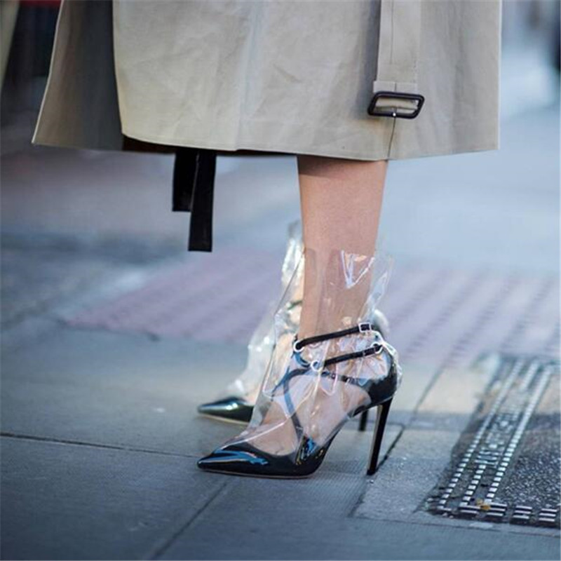 Fashion Women Sandals 2018 High Heels Transparent PVC Leather Gladiator Sandals Women Pumps Rain Catwalk Shoes Woman SandaliasFashion Women Sandals 2018 High Heels Transparent PVC Leather Gladiator Sandals Women Pumps Rain Catwalk Shoes Woman Sandalias