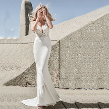 Verngo Mermaid Wedding Dress V-Back Beach Wedding Gowns Ivory Appliques Soft Stain Boho Bride Dress Vestidos De Novia 2019
