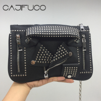 CAJIFUCO Fashion Creative Design Suit Style Small Shoulder Bag Clothing Rivet Chain Bag Gold Metal Studded Crossbody Bag Bolsa