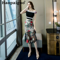 Plus Size Embroidery Floral Long Skirts Women High Waist Midi Skirt Trumpet 2019 Summer Mesh Patchwork Sexy Wrap Skirt Ladies