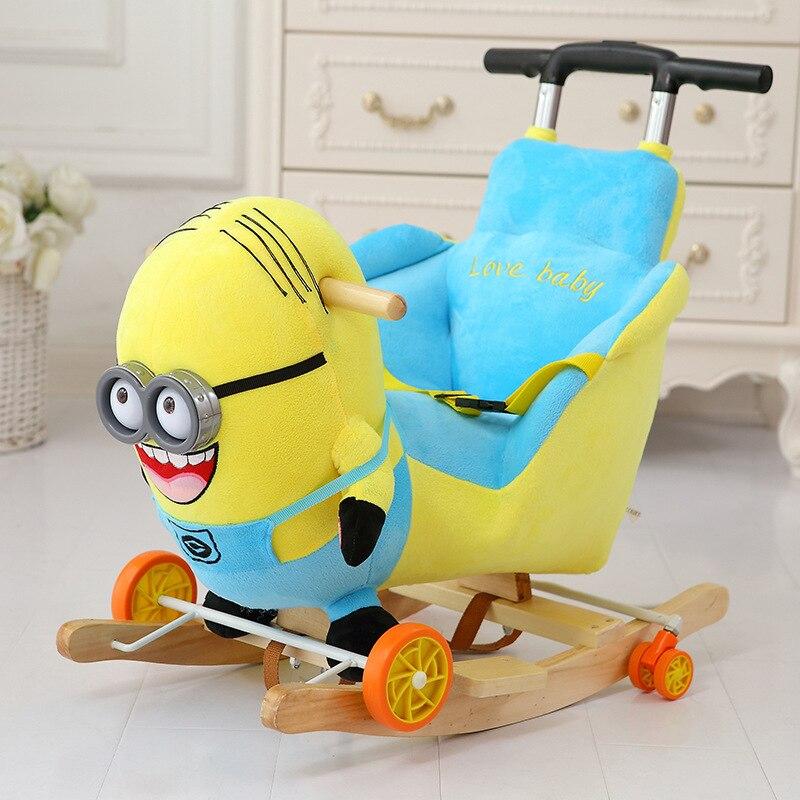 Anime animal de bande dessinée Licorne Éléphant Ours cheval à bascule Cheval De Troie jouet En Bois et en peluche chaise à bascule bébé transport Enfant chariot de voiture