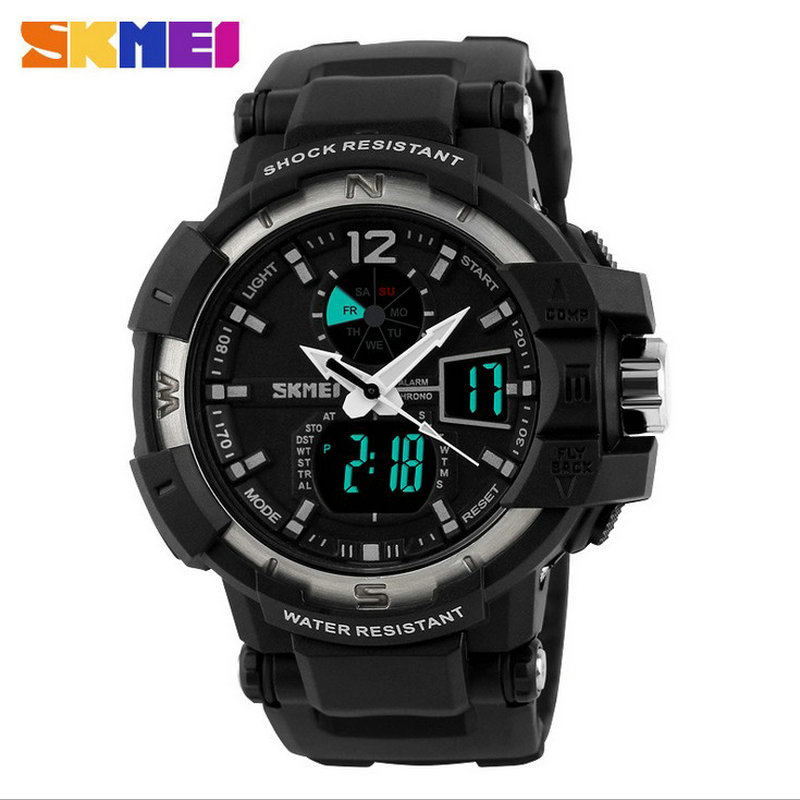 wholesale army sport font b dual b font time Waterproof Quartz Alarm Leather Quality Famous Boys