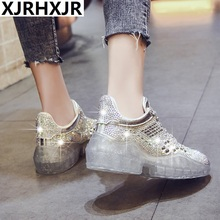 XJRHXJR Casual Crystal Shoe Women zapato de mujer White Platform Sneaker  Bling chaussures femme Rhinestone Leather 54791374430b