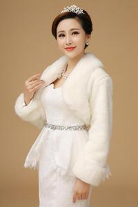 Image 3 - Yeni Bolero kadınlar Faux kürk Stoles uzun kollu yüksek kaliteli kürk Bolero ceket gelin pelerinler kış düğün ceket kürk Bolero OJ00192