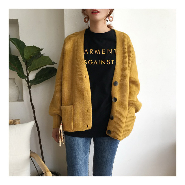 Women Cardigans Sweater V neck Solid Loose Knitwear Single Breasted Casual Outwear Jacket Coat 1