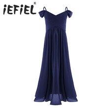 IEFiEL robe princesse en mousseline de soie pour filles, robe de bal, de bal de mariage, occasion formelle, de spectacle