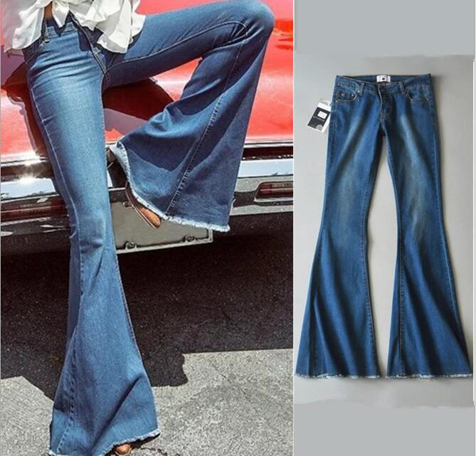 Vintage High Waist Jeans Pants Women Blue Color Elastic Washed Slim Long Pants Denim Jeans Trousers