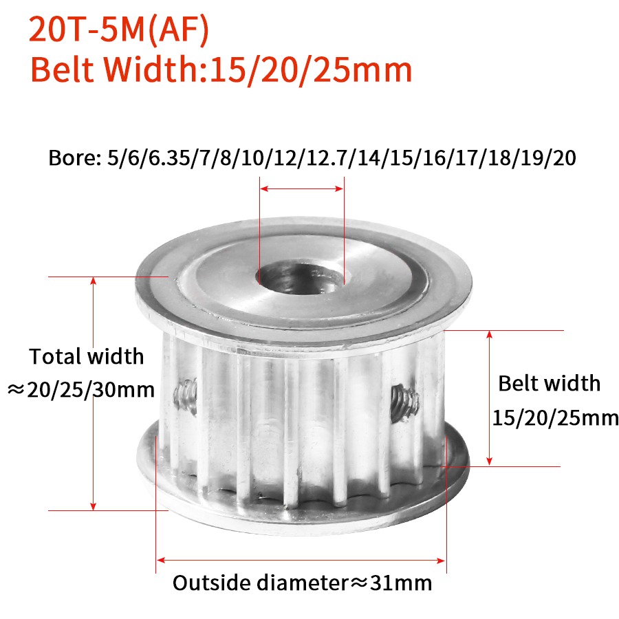 HTD 5M 20T Timing Pulley 20Teeth 5M 20T 16mm/21mm/26mm Width Toothed Belt Pulley 5 20mm Bore Gear  Keywa Pulley for CNC Machine|Pulleys| |  - title=