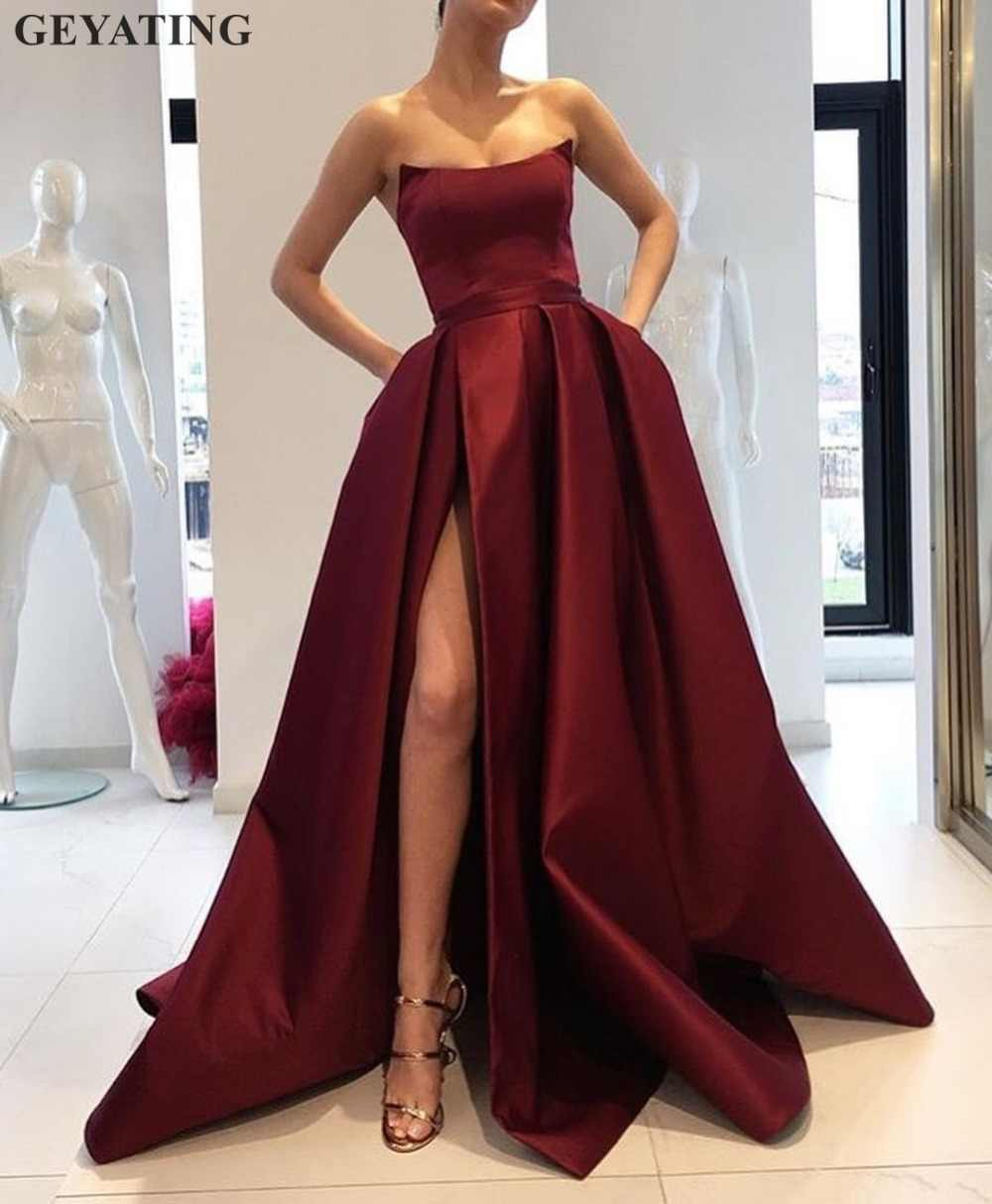19291e47a98 2019 Burgundy Prom Dresses with Pockets Side Slit Strapless Satin Elegant Long  Evening Party Gowns Wine
