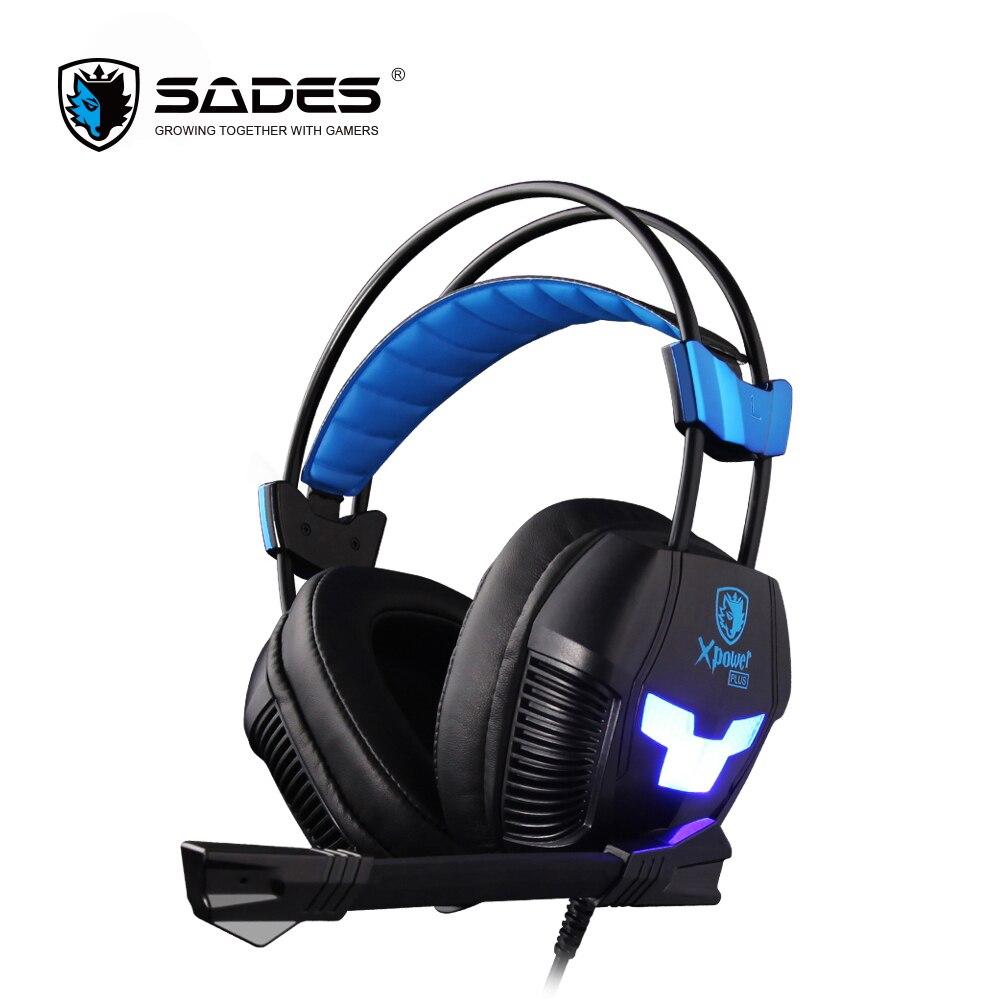 Sades xPower плюс Игровые наушники стерео объемный звук и 2-уровень вибрации эффект гарнитура Over-Ear шлем с прохладный светодиодный свет