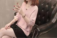 2018 spring new stylish knitted sweater thin section sleeves solid color short sweater S XL