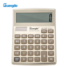 Guangbo Golden Color Electronic Calculators Useful Office Supplies 12 Digit Stationery Big Button Desk Calculadora NC