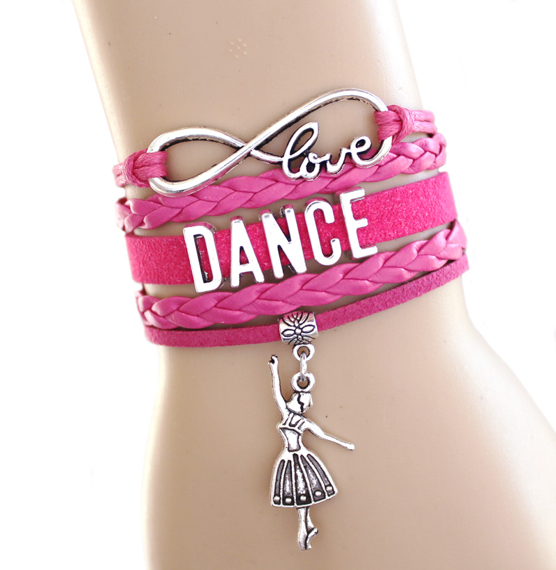 10pcs Love Dance To Infinity And Beyond Bracelet Dancer Wrap Hot Pink Black School Gift Suede Leather In Charm Bracelets From