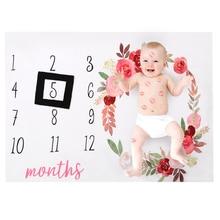 купить Newborn Baby Blanket for Photos Flower Background Photography Monthly Growth Milestone Numbers Props Stroller Cover Anniversary по цене 243.53 рублей