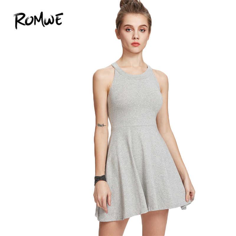 ROMWE Летние Платья повседневные женские платья новое поступление 2018 женское  серое платье без рукавов ТРАПЕЦИЕВИДНОЕ расклешенное 5d559743497