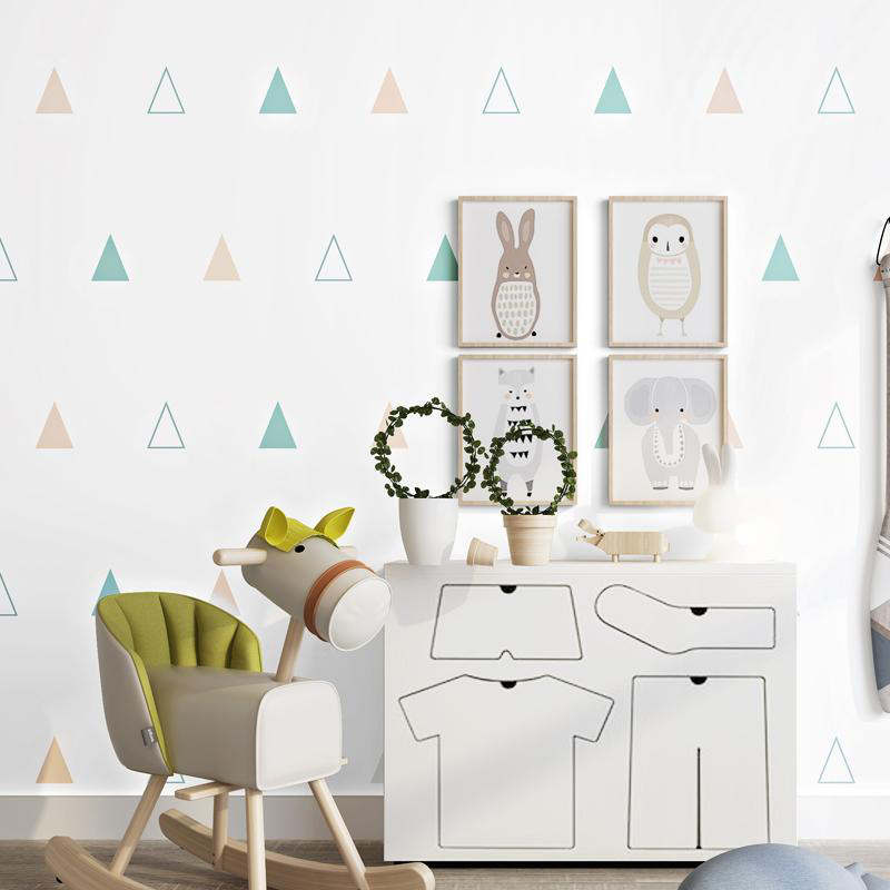 US $24.64 29% OFF|Modern Geometric Triangle Wallpaper 3D Boys And Girls  Bedroom Kids Background Wall Decor Pure Paper Eco Friendly Wall Paper  Roll-in ...