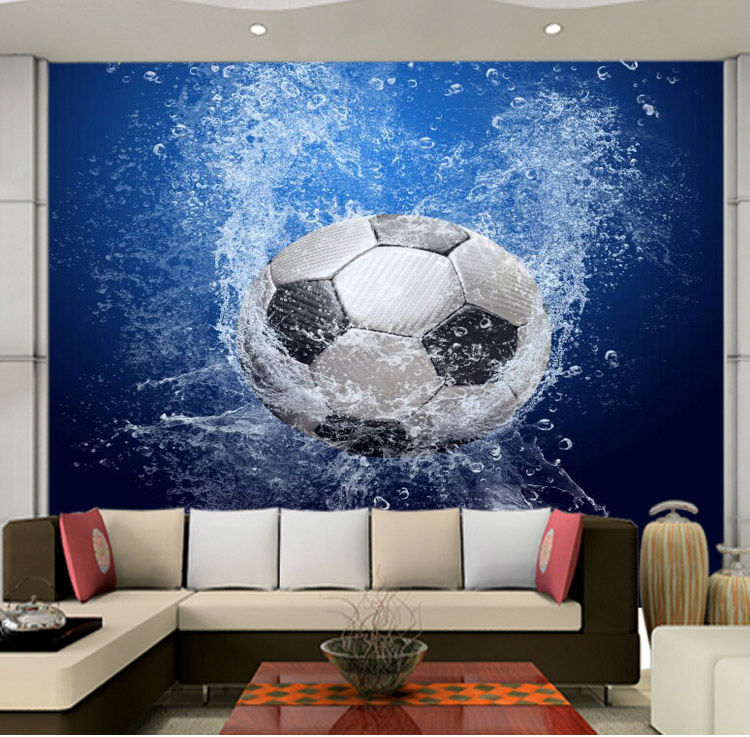 ... Modern 3D Wallpaper Football Photo Wallpaper Wall Mural Boys Kids Girls  Room Decor Club Bedroom Television ...