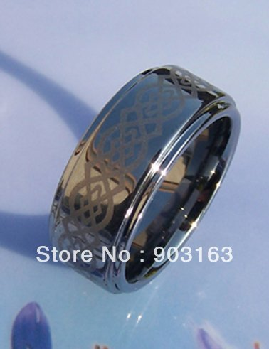 Wholesale 1pcs best selling New Arrival Guaranteed 100% 9MM Tungsten Carbide laser Logo Wedding Band Ring shipping free