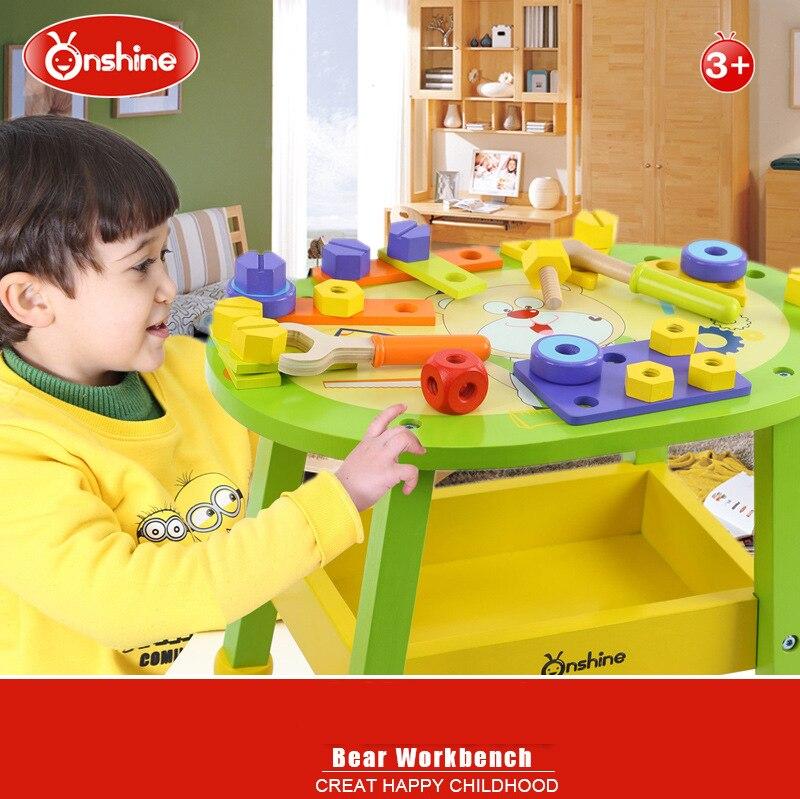 Onshine Игрушки для маленьких детей Детская деревянная Игрушечные лошадки Развивающие деревянные проекта инструмент медведь workbench Многофункц... ...