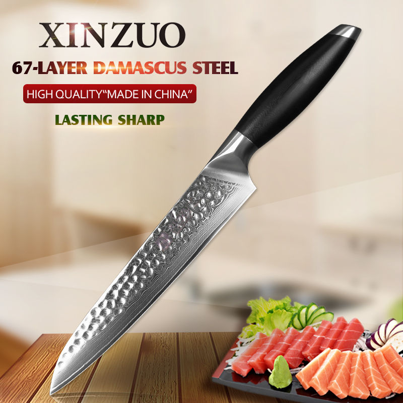 XINZUO 8 inch Cleaver Meat Knife Japanese VG10 Damascus Kitchen Knives Brand Stainless Steel Cooking Tools