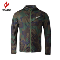ARSUXEO Sports Men Cycling Bike Running Coat Raincoat Jersey Ultralight Camouflage Workout Jacket Pack Cycling Clothing