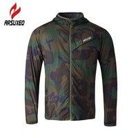 Deportes ARSUXEO Hombres ciclismo bike correr capa impermeable Chaqueta de jersey de entrenamiento de camuflaje ultraligero Paquete Ciclismo Ropa abrigo OPU
