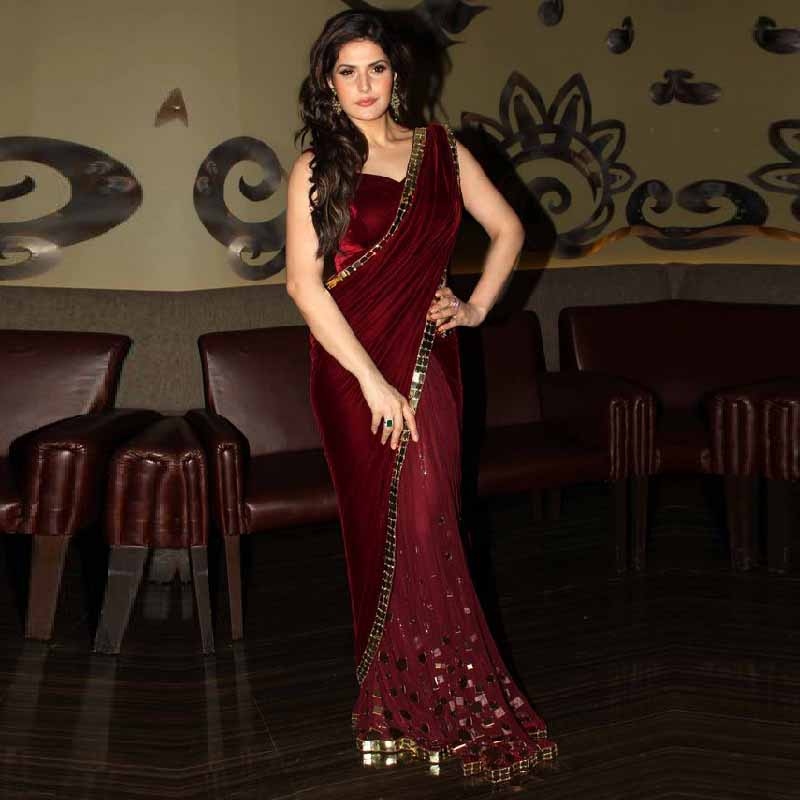 Indian Saree One Shoulder Evening Dresses 2016 Burgundy Soft Velour Custom Made Gold Crystals Women Party Gowns Vestido Longo