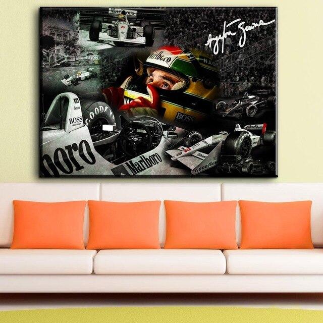 ZZ981 Ayrton Senna F1 Racer da Silva Cartaz lona de Arte Impressão esportes Quadros Para Sala de estar Decoração arte óleo da lona pinturas de arte