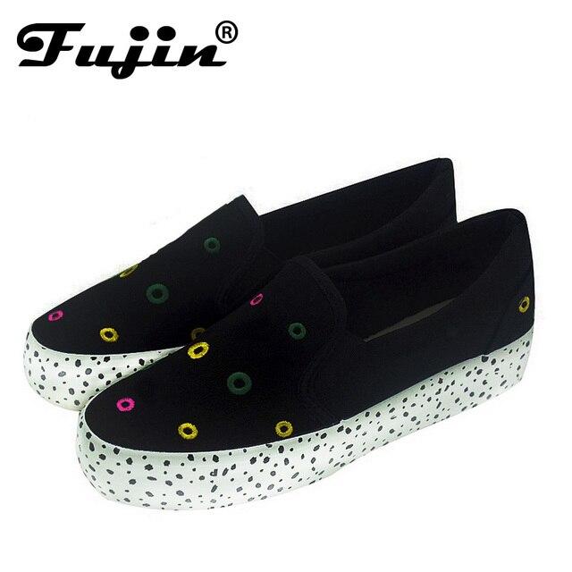 slipony women's Casuals 3cm platform casual women platform shoes dot slip on ladies footwear flat Casual canvas shoe black white