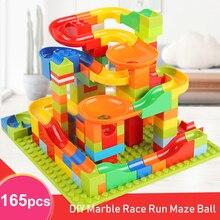 165/330 шт 3D Строительство мраморный трек Запуск лабиринт мяч трек строительные блоки совместимы с Legoing кирпичи набор для детей
